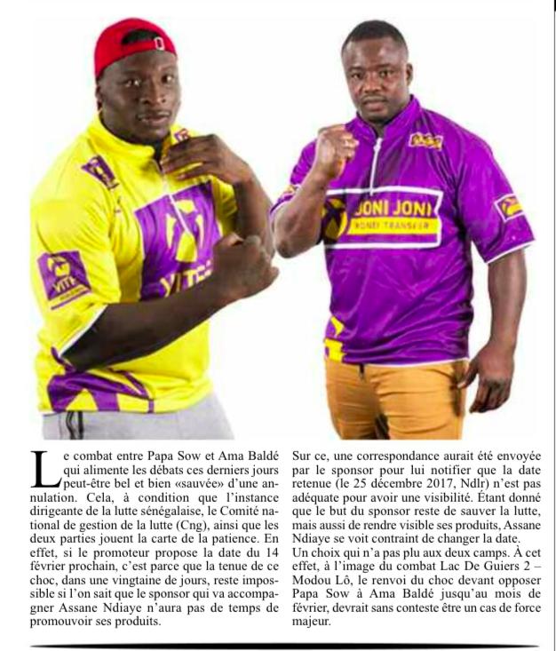 Lamb dji : Une bonne nouvelle pour les fans de Papa SOW et Ama Baldé