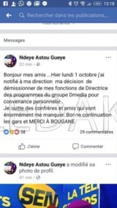 Aprés Youssou Ndour, C'est au tour de Bougane: Ndeye Astou Gueye quitte la Sen Tv