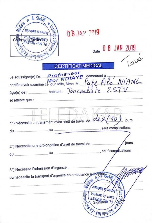 Photos - Eladji Ndiaye Taxe de menteur a Pape Alé Niang et publie son certificat medical %Post Title
