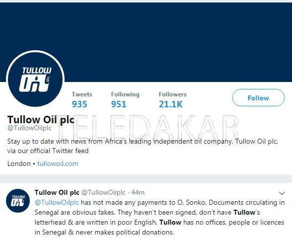 Versements en faveur de Ousmane Sonko : Tullow Oil dément catégoriquement  %Post Title