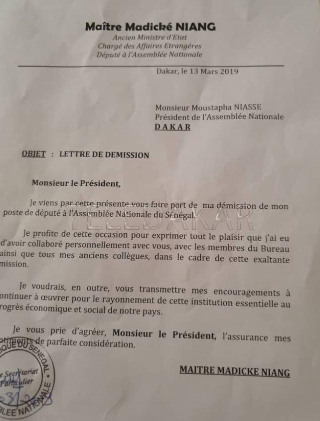 Assemblée nationale - Officiel : Voici la lettre de démission de Madické  %Post Title