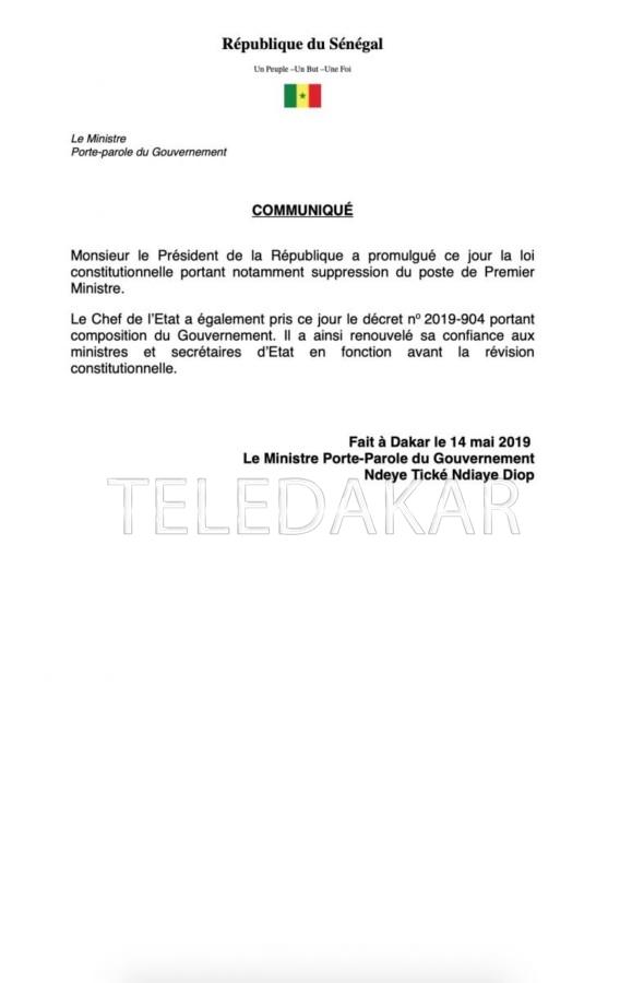 Suppression Poste de PM : Le Président Macky Sall passe à l'acte  %Post Title