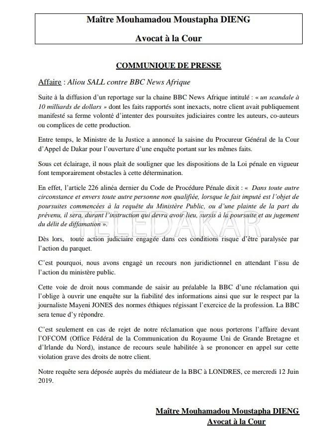 Plainte contre BBC : Aliou Sall et ses avocats font marche arrière et…  %Post Title
