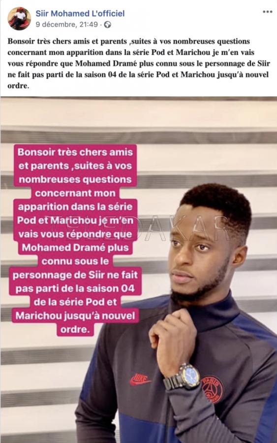 Après Pathé Séne , un autre acteur annonce son départ de la série Pod et Marichou.
