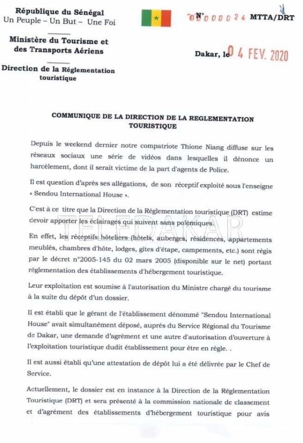 Affaire Thione Niang: voici la réponse du ministère du tourisme et des Transports Aériens