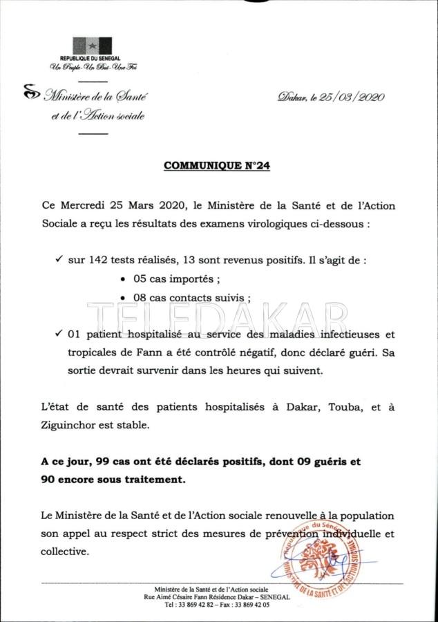Covid 19 : De nouveaux cas présents au Sénégal