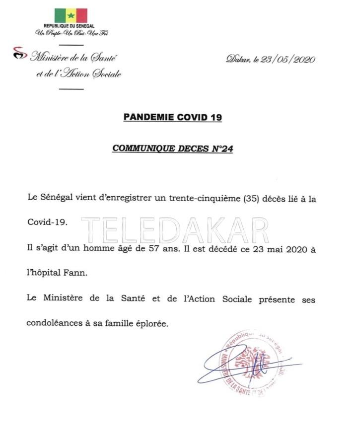 Le Sénégal enregistre son trente-cinquième décès lié à la covid-19
