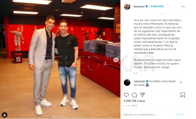 Neymar appuie le tacle de Lionel Messi sur le Barça